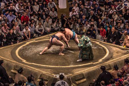 Tokyo - May 19, 2019: Sumo wrestling match in the Ryogoku arena, Tokyo, Japan Sajtókép