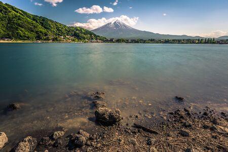 Mount Fuji seem from lake Kawaguchi, Japan