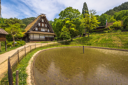 Takayama - May 26, 2019: Traditional buildings in the Hida folk village open air museum of Takayama, Japan
