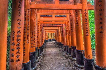 Kyoto - May 28, 2019: Torii gates of the Fushimi Inari Shinto shrine in Kyoto, Japan