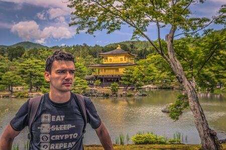 Kyoto - May 29, 2019: Kinkakuji, the Golden Pavilion in Kyoto, Japan Редакционное