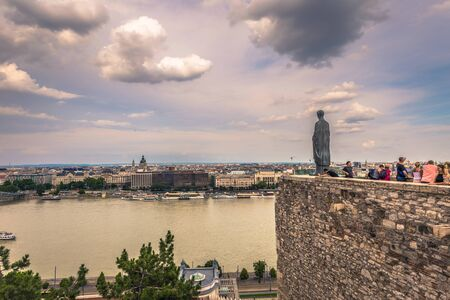 Budapest - June 22, 2019: The Danube river seen from the Buda side of the city of Budapest, Hungary
