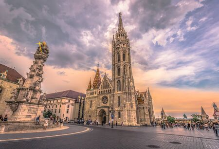 Budapest - June 21, 2019: Matthias church in the Fishermans Bastion on the Buda side of Budapest, Hungary Editorial