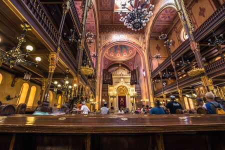 Budapest - June 21, 2019: Inside the great Synagogue of Budapest, Hungary