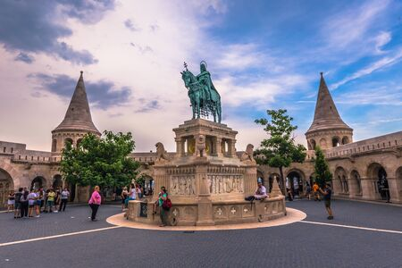 Budapest - June 22, 2019: Statue of Stephen I at the Fishermans Bastion in the Buda side of Budapest, Hungary