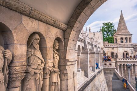 Budapest - June 22, 2019: The Fishermans Bastion in the Buda side of Budapest, Hungary