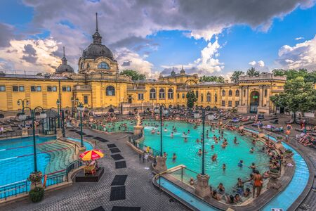 Budapest - June 22, 2019: Panoramic view of the Szechenyi thermal baths of Budapest, Hungary Editorial