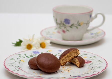 Honey bread cookie (pao de mel) typical in Brazil with floral china crockery