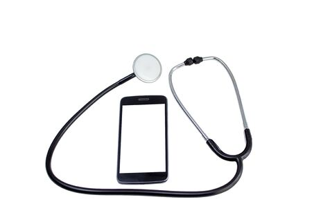 A white screen smartphone and a stethoscope on white background
