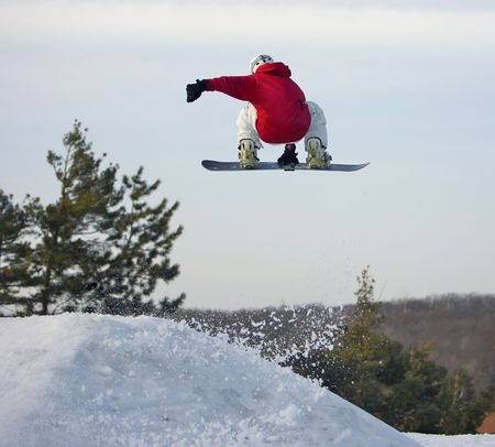 Big Air Snowboarder Stock Photo