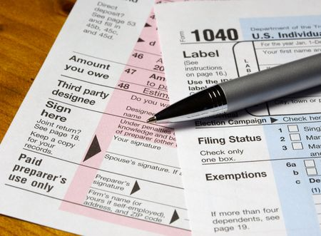 Tax Forms & Pen Stock Photo