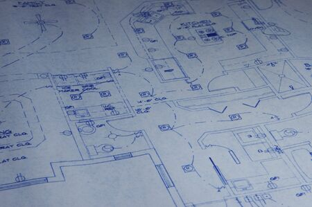 Detail of Architectual Blueprint Stock Photo