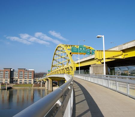 Fort Pitt Bridge in Pittsburgh Stock Photo