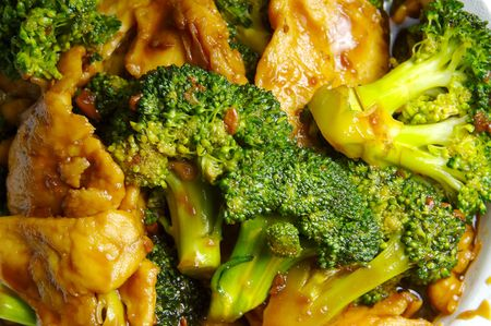 Broccoli Chicken Chinese food Closeup Stock Photo