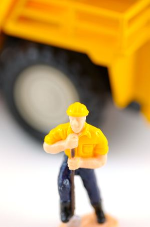 Toy Construction Worker with Shallow depth of Field Background