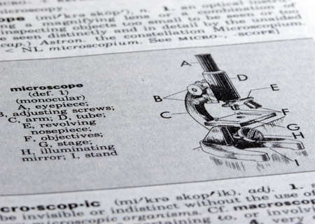 Microscope Illustration in Old Dictionary Stock Photo