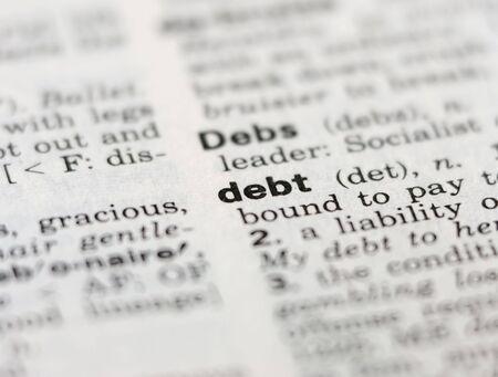 definici�n: definici�n de deuda  Foto de archivo