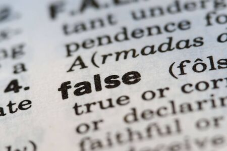assumed: False Definition from Old Dictionary Stock Photo