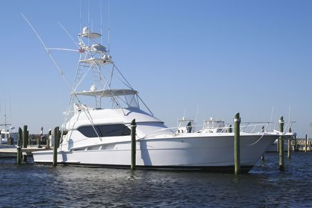 sport fishing boat at marina Stock Photo