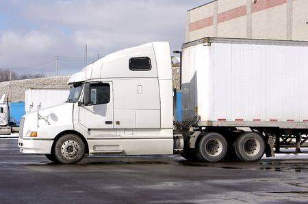 semi truck at loading dock Stock Photo