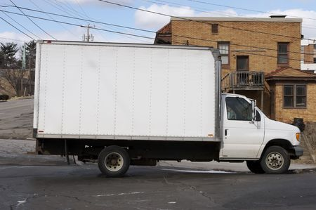 White Box Truck with Blank Side