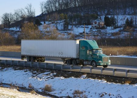 Tractor Trailer on the Highway Stock Photo - 340070