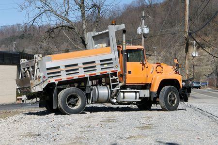 dump truck: Orange Dump Truck Stock Photo