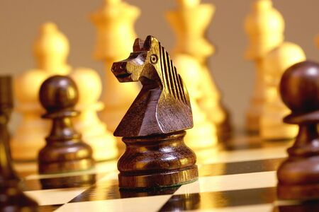 pawn to king: A game of chess comes to an end. The king is checkmated.