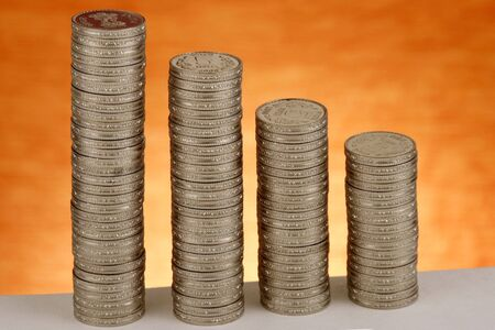 dosh: Stack of coins Stock Photo