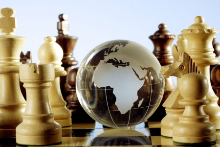 Globe and chess game