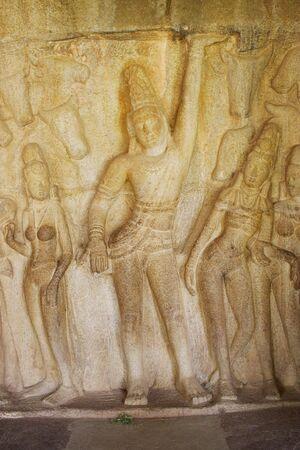 mamallapuram: Relief sculpture in Krinshna mandapaum,Mamallapuram,Tamilnadu,India