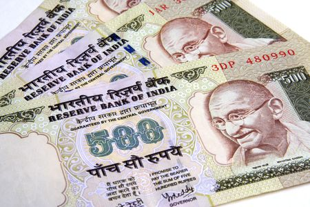 rupees: Indian currency-Five hundred rupees notes