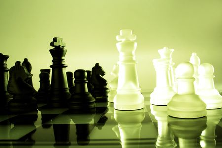 adversary: A game of chess comes to an end. The king is checkmated