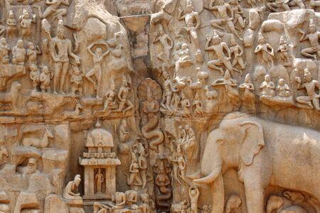 pallava: Descent of the Ganges Relief Sculpture