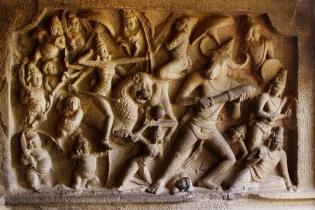 slaying: Durga Slaying the Buffalo Demon Relief Sculpture at Mamallapuram