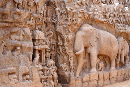 pallava: Descent of the Ganges Relief Sculpture,Mamallapuram,India Stock Photo