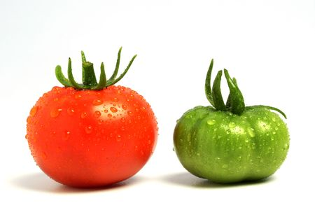 Raw and ripe tomatoes photo