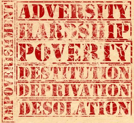 貧困関連する単語、羊皮紙に赤インクで印刷されます。逆境と苦難、貧困、剥奪、荒廃と貧困。各単語は、別個の要素として使用できます。 写真素材