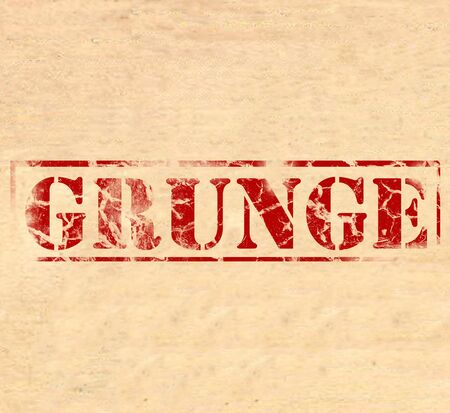 scratched: The word Grunge printed in red ink on parchment, faded, damaged and destroyed.