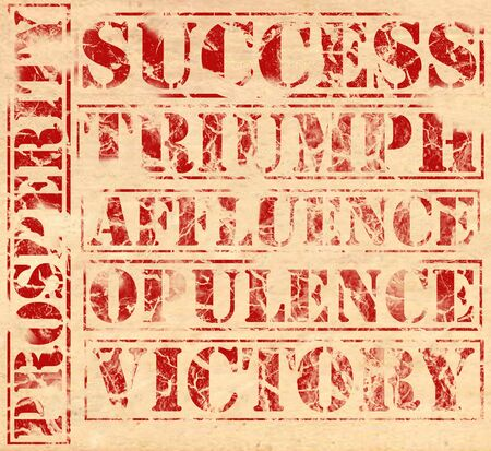 affluence: Success related words, printed in red ink on parchment. Success, triumph, affluence, opulence, victory, propersity. Each word can be used as a separate element.