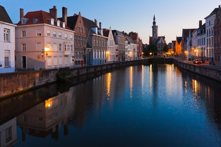 The belgian town of Bruges at sunset