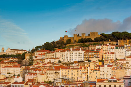 Lisbon, view of the town with the castle of Sao Jorge