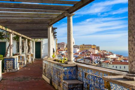 Lisbon, Santa Luzia viewing point over the Alfama district Фото со стока