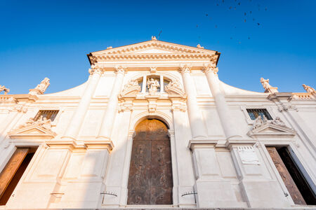 daniele: the baroque facade of the town of San Daniele del Friui, Udine, Friuli Venezia Giulia Italy. Built upon a plan by architect Domenico Rossi, XVIII century.