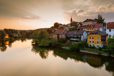 View of the town of Novo Mesto and the Krka river form the Kandija bridge. Slovenia