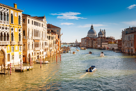 brige: Venice, view from the Accademia brige with the Grand Canal in a beautiful autumn day