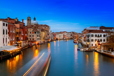 grand canal: Venezia, view of the Grand Canal at night from the Ponte degli Scalzi. Venice, Veneto, Italy.