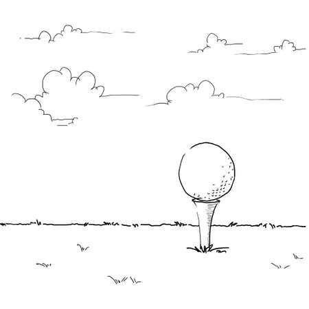 tee off: golf illustration, sketching golf ball on tee off area