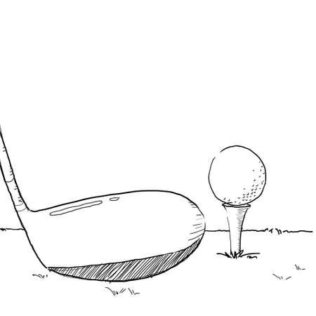golf illustration, sketching golf ball on tee off area illustration