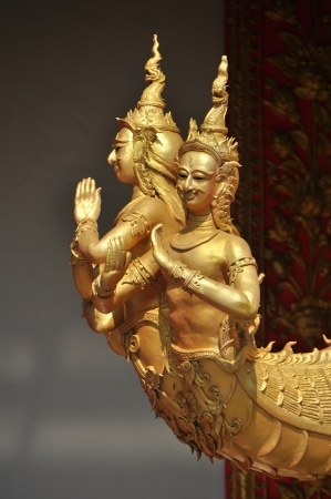 Mythical bird with a human head, one of Thai art element of Thailand photo